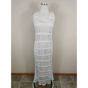 Tommy Bahama White Linen Crochet Maxi Dress